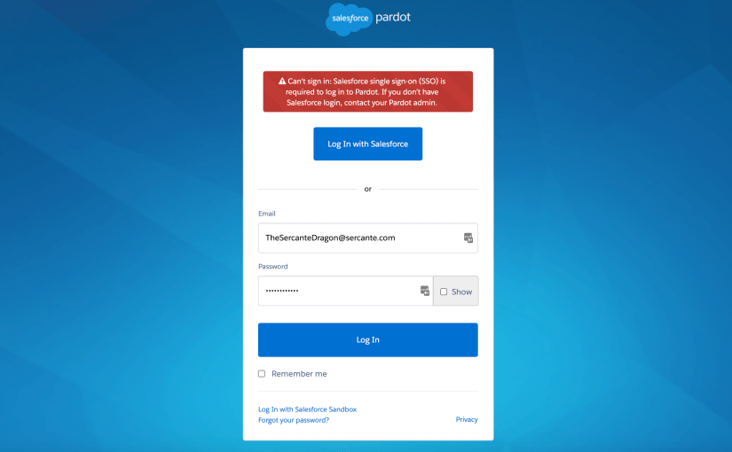 Can't Sign In To Pardot: Salesforce SSO Now Required