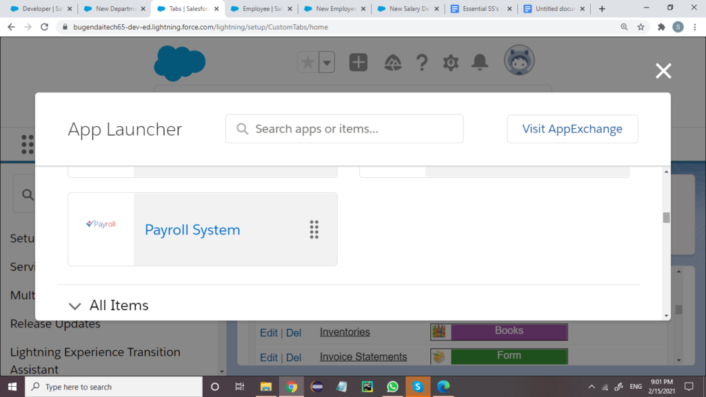Payroll System Sales console